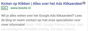Klikaandeel google ads advertentie